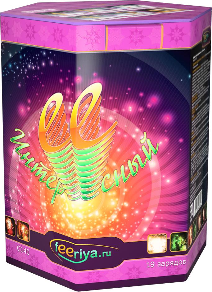 Фейерверк ФеерияСредние фейерверки<br>Зелено-фиолетовые пионы, шуршащие серебряные пальмы, золотые вертушки с цветными пионами, шуршащие золотые мохнатые мотыльки с красными огоньками. Финал из огромной трещащей золотой сферы.<br>Тип: фейерверк; Вид фейерверка: батарея салютов; Время работы с: 28; Высота разрыва м: 35; Количество залпов: 19; Калибр дюймы: 1.25; Ширина см: 19; Высота см: 23; Глубина см: 17; Вес кг: 2.42;