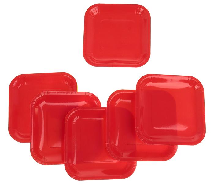 Фейерверк Тарелка квадратная, набор 6 шт, 18 см, цвет: красно-оранжевыйПредметы сервировки<br><br>Тип: фейерверк; Вид фейерверка: предмет сервировки; Высота см: 0;